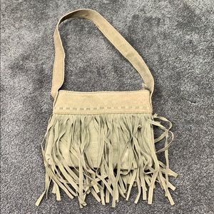 Green Faux Suede Leather Tassel Small Purse Bag